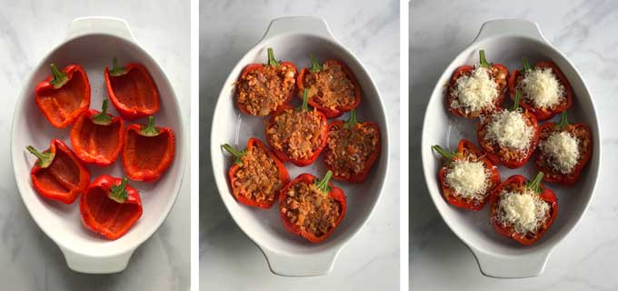 three images showing how to stuff red peppers. Empty pepper halves in an oval casserole dish, pork-stuffed peppers in a casserole, stuffed peppers with parmesan topping in a casserole