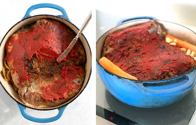 Side by side photos of a blue dutch oven filled with a browned brisket at various stages of being coated in tomato paste
