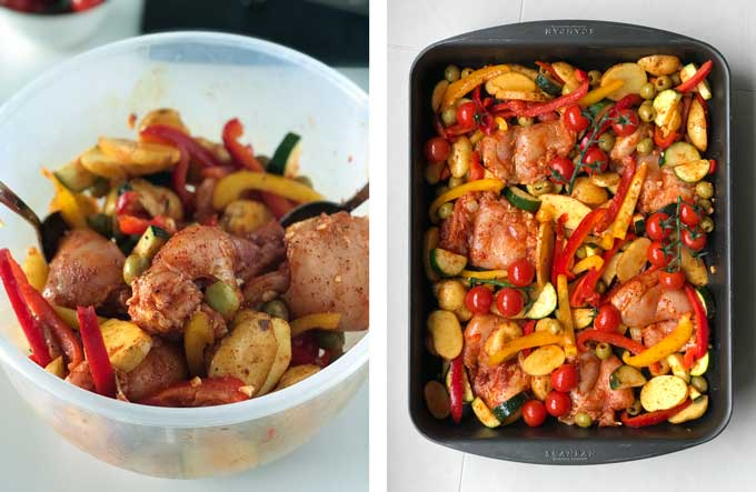 side by side photos. The one on the left is a bowl with all the ingredients for making baked chicken thighs with potatoes, peppers and olives. The one on the right shows everything spread out into a black rectangular roasting pan.