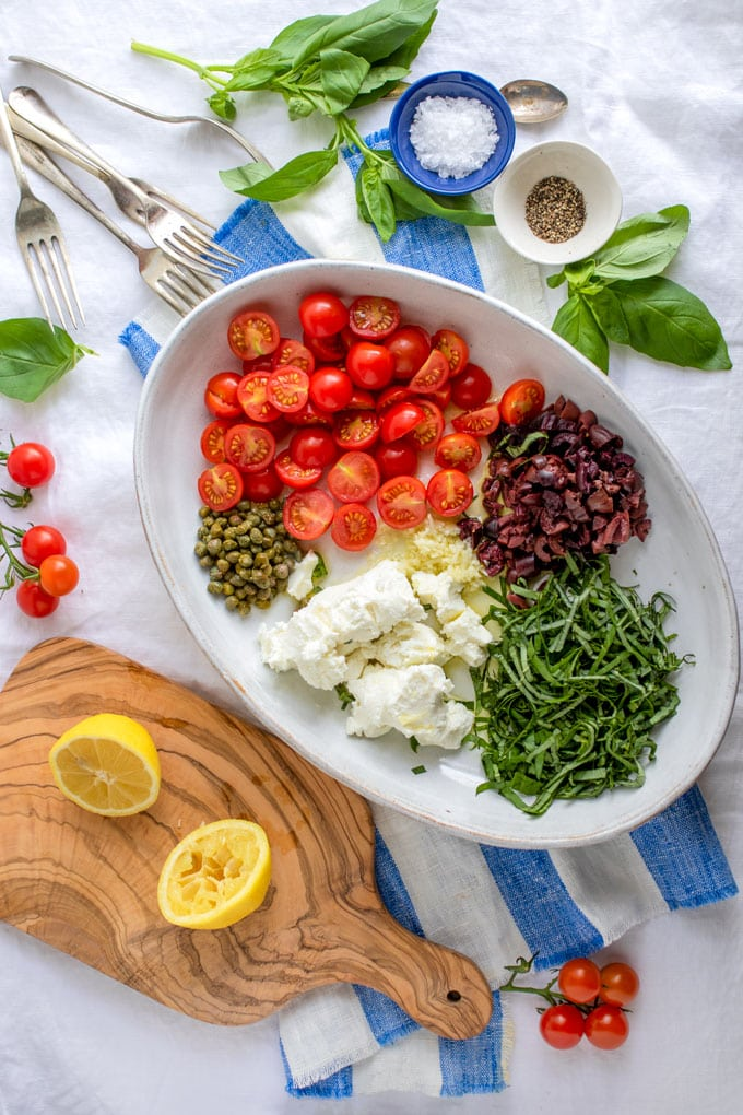 Ingredients for Quick Summer Pasta with Goat Cheese and Cherry Tomatoes