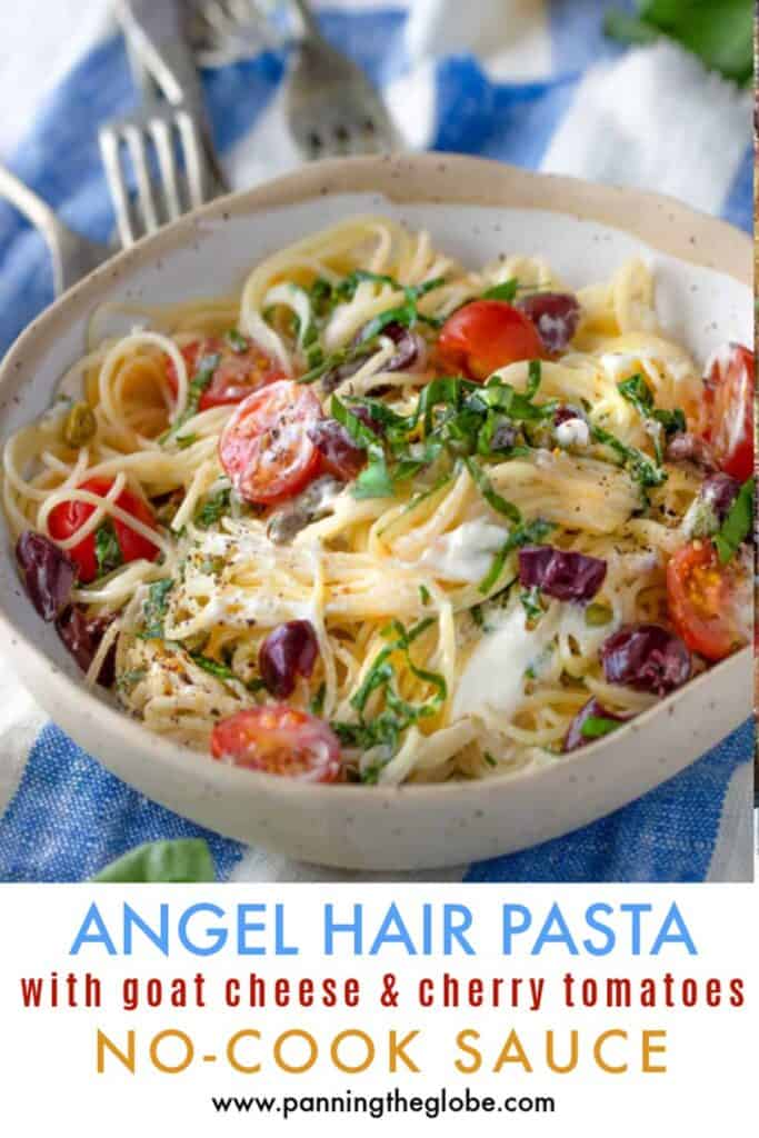 pinterest pin: angel hair pasta with goat cheese and cherry tomatoes