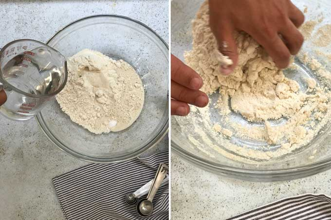 a bowl of masa harina and someone pouring in water and mixing up the masa dough for tortillas