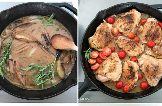 photo of deglazed pan sauce in skillet with caramelized shallots and tarragon sprigs, another photo of chicken thighs and cherry tomatoes added to the skillet with the pan sauce