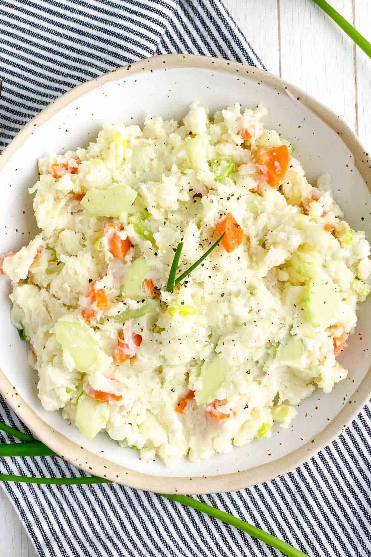 japanese potato salad in a white bowl