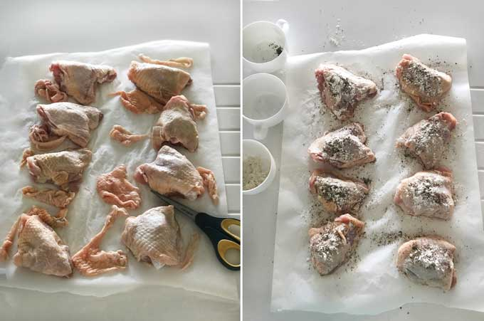 How to trim excess skin from chicken thighs and how to prepare chicken thighs for braising by dusting them with flour, salt and pepper