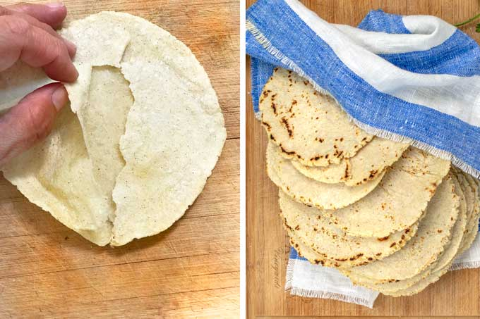 two photos, one showing the two layers of a corn tortilla the other a stack of tortillas wrapped in a cloth napkin