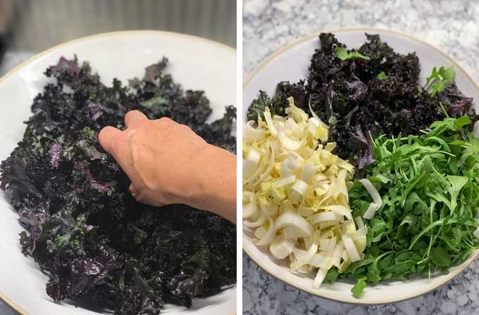 a bowl showing how to massage kale with your hands and a bowl with massaged kale, arugula and endive