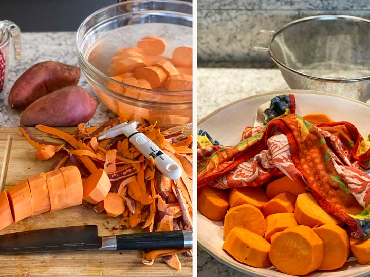 Showing how to peel and slice sweet potatoes, store them in a bowl of cold water, drain them in a colander and dry them with a dish towel before roasting.