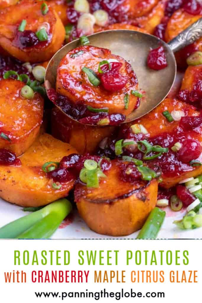 Pintrest pin: roasted glazed sweet chunks of sweet potato with cranberries and scallions