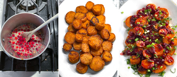 three images, first a saucepan with fresh cranberries simmering for a glaze, next a white platter of roasted sweet potatoes, next the same platter of potatoes topped with cranberry glaze and scallions