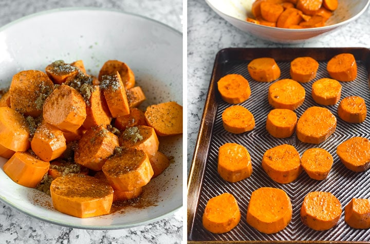 A big bowl of sweet potato rounds topped with spices and then arranged on a rimmed baking sheet