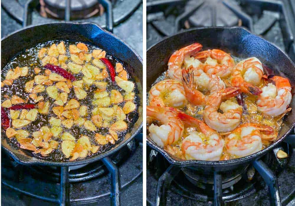 showing how to cook spicy garlic shrimp, a cast iron skillet with sizzling garlic slices and then the same skillet with 10 shrimp added