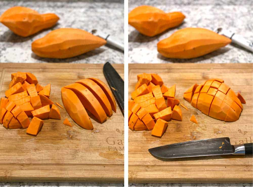 cutting board with sweet potatoes and showing how to cut them into bite-sized cubes.