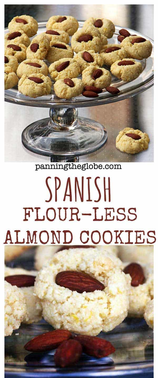 These Spanish flourless almond cookies are made mostly from ground almonds. Gluten free, dairy free, quick and easy recipe, and most importantly: DELICIOUS! #Healthy #Cookies #GlutenFree #DairyFree