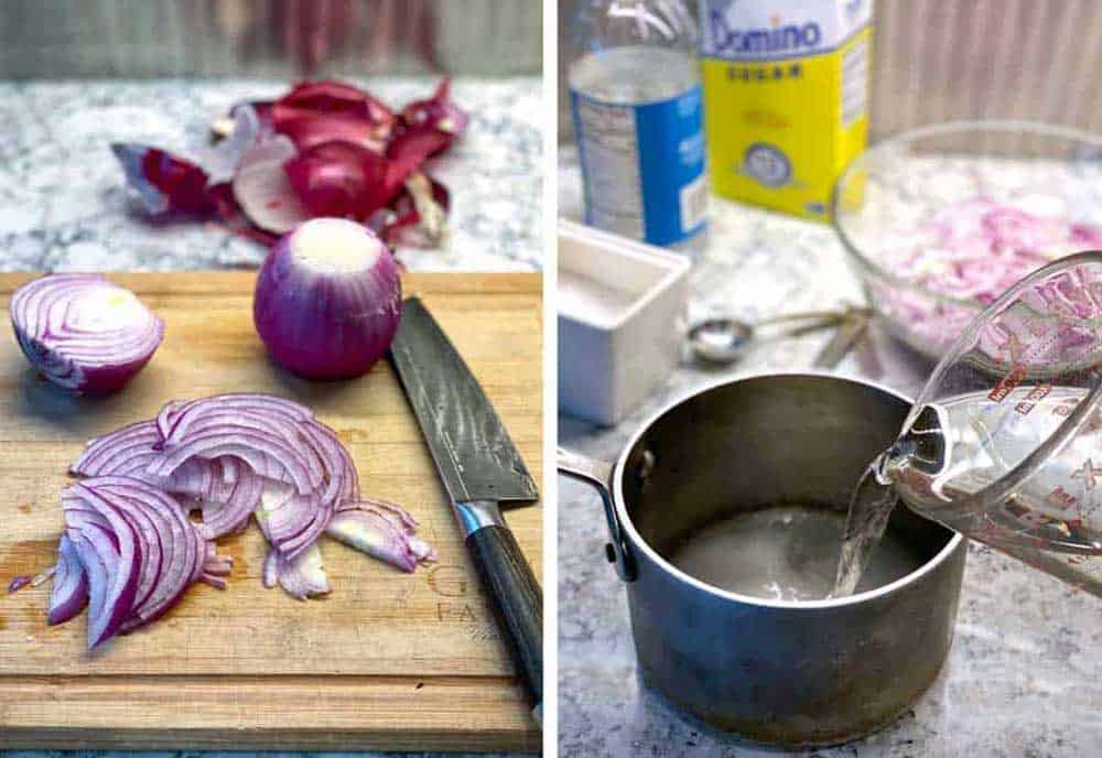 how to make pickled red onions: sliced red onions on a cutting board, vinegar, sugar, salt and a small saucepan