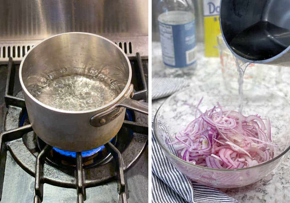 how to make pickled red onions: small saucepan over a flame, hot vinegar mixture pouring out of a saucepan into a bowl of sliced red onions