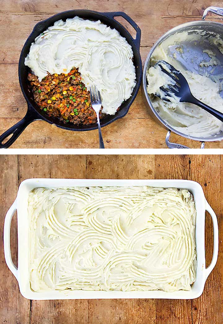 showing how to make shepherd's pie, adding mashed potatoes on top of the meat filling in a cast iron skillet