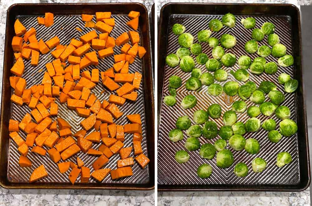 two rimmed baking sheets, one with cubed sweet potatoes, one with halved brussles sprouts.