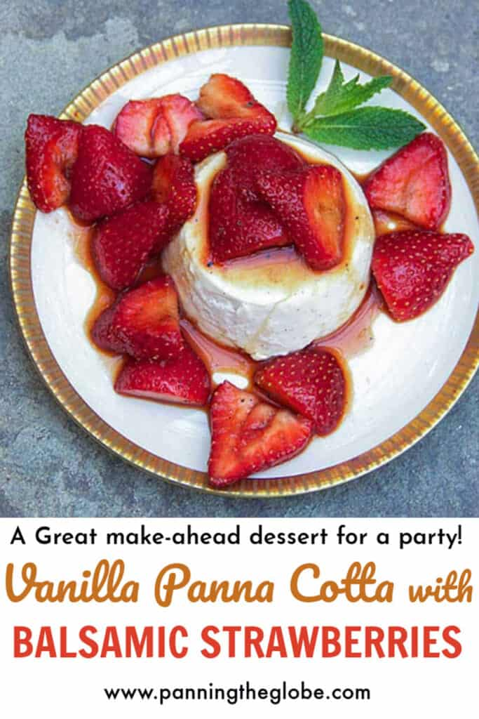 gold-rimmed white plate topped with vanilla panna cotta and strawberries