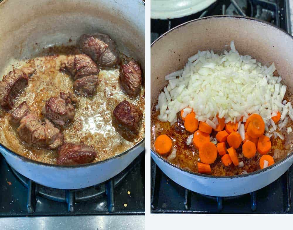 Looking down into a blue Dutch oven with 9 cubes of stewing beef browning in the pot, and an overhead shot looking into the same pot with the beef removed and sliced carrots and chopped onions added