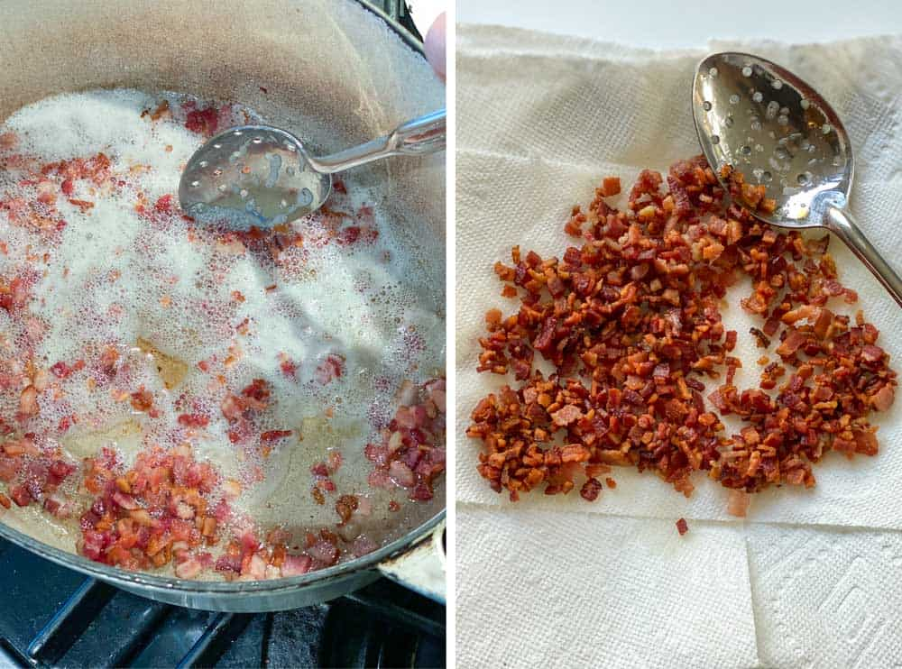 looking from above down into a skillet with bacon lardons being sautéed and a second image of the browned bacon bits on a paper towel lined plate
