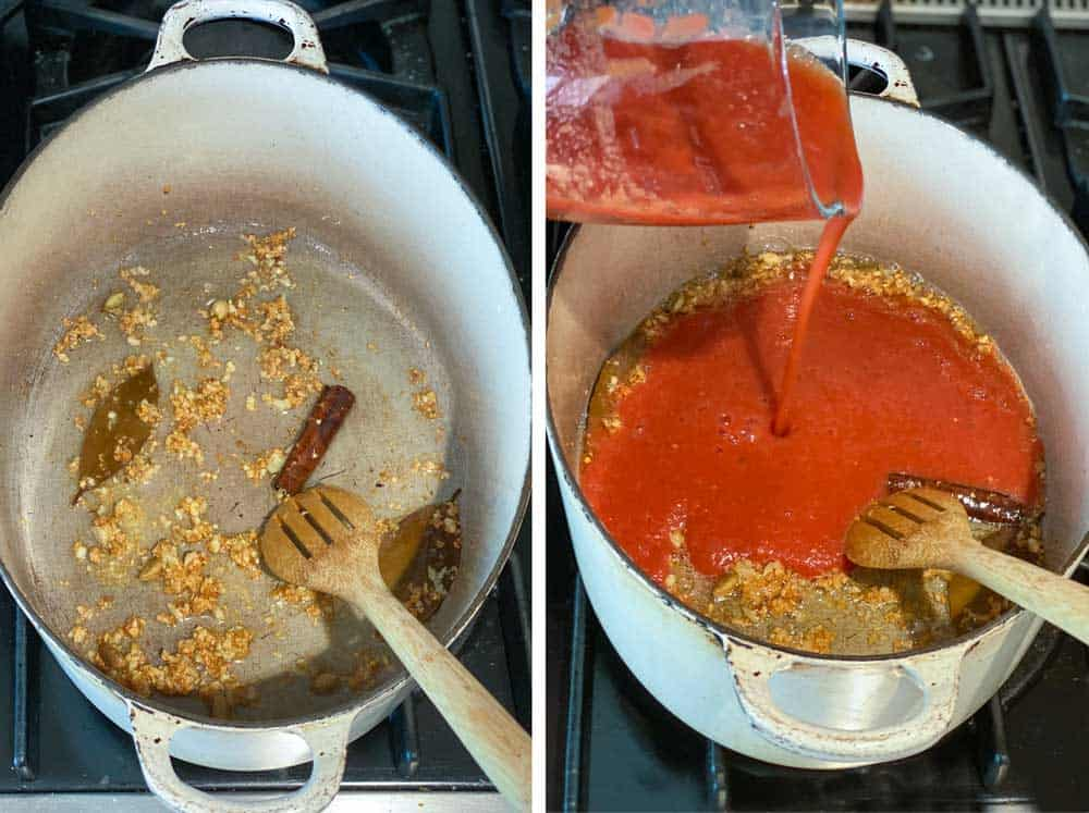 a white Dutch oven shown from above with simmering garlic and spices and then another shot of tomato puree being poured into the pot