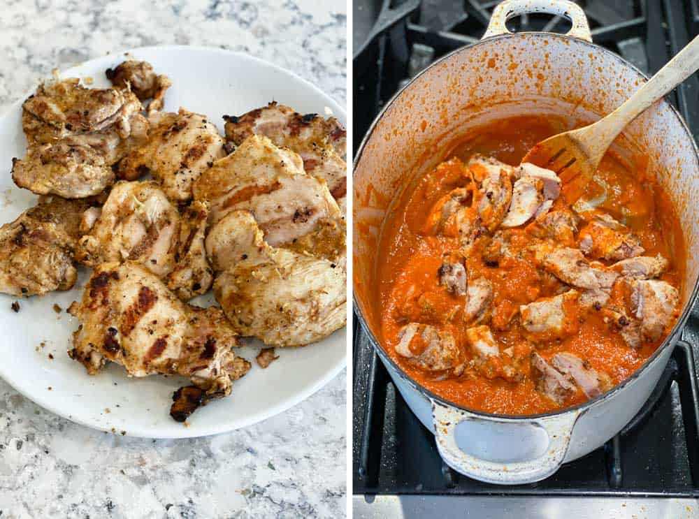 how to make Indian Chicken Ruby curry, a plate of grilled chicken thighs and then a pot of tomato curry sauce with cubes of grilled chicken being mixed in with a wooden spoon