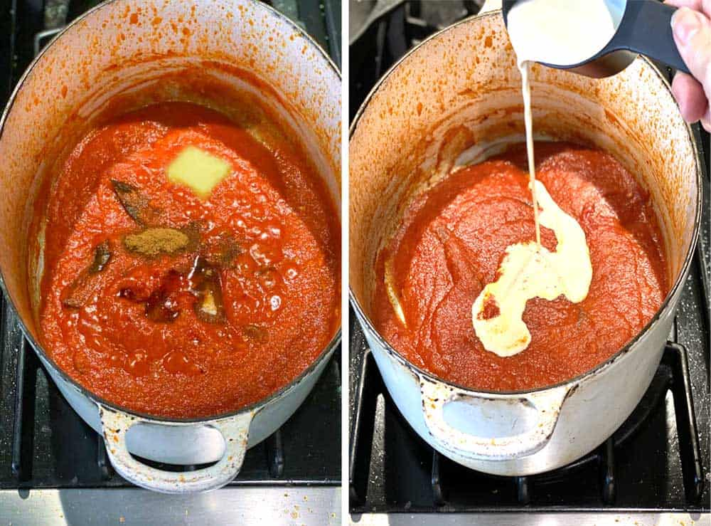 showing thee progress of cooking Indian chicken curry with one pot full of tomato curry sauce and spices and butter and then the next shot shows the cream being poured in