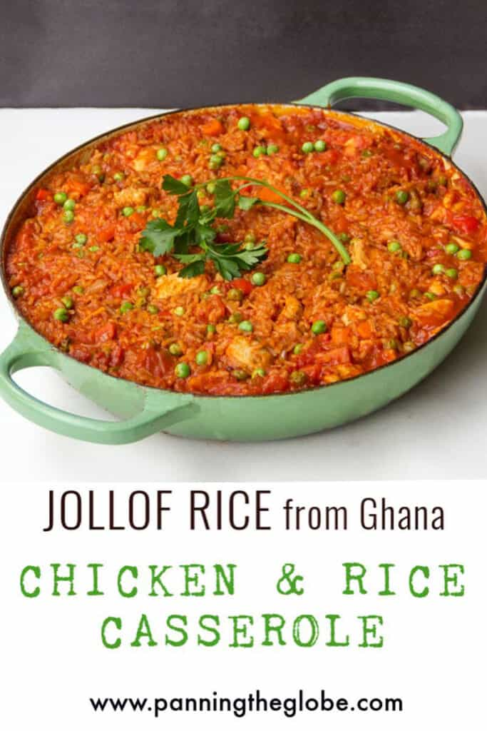 Pinterest pin: jollof rice with chicken in a green pot