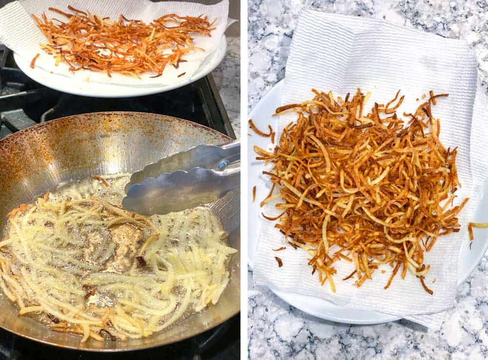 two photos, one showing shoestring potatoes frying in oil in a frying pan, the other showing the cooked potatoes draining on a paper towel lined plate