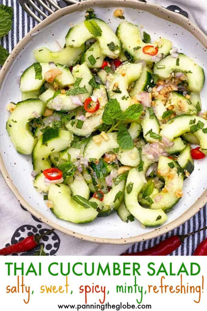 Pinterest pin: Thai cucumber salad in a white bowl
