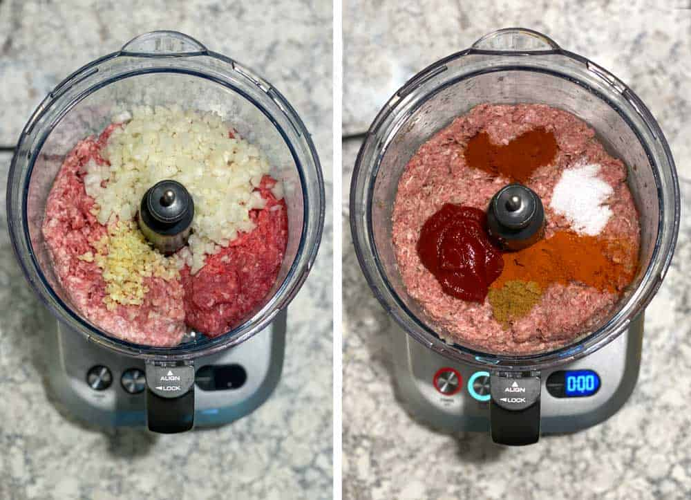 mixing ground pork, ground beef, onions, garlic and spices in a food processor.