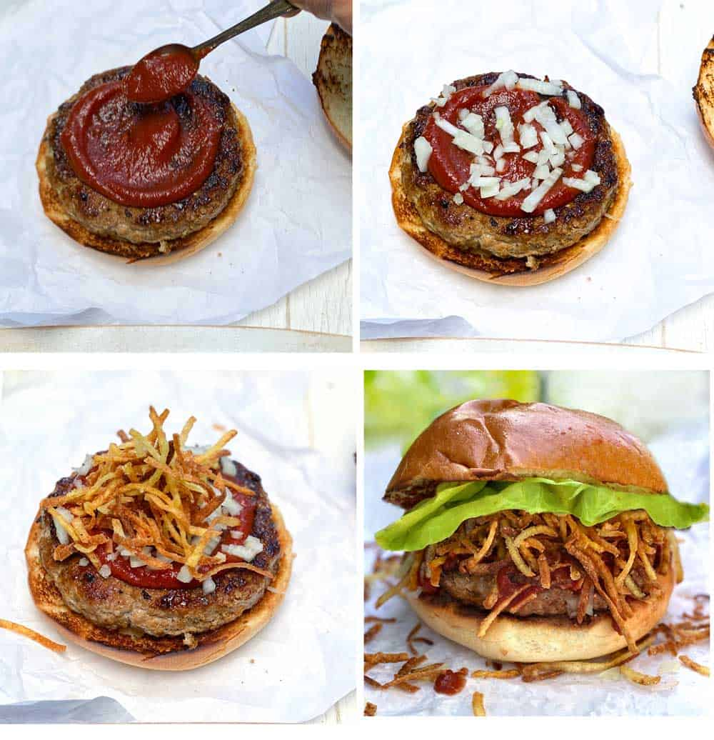 how to make the frita burger, two patties on buns, special sauce being added to one, chopped onions being added on top