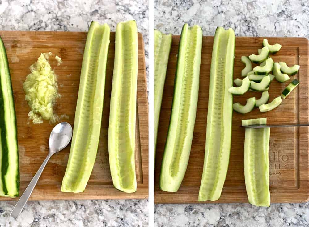 how to prepare cucumbers for cucumber salad, 3 cucumber halves with the seeds scooped out, another photo showing the same cucumber halves, once of them halfway sliced crosswise into moons.