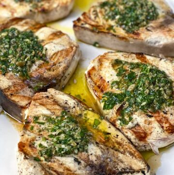 6 grilled swordfish steaks topped with salsa verde