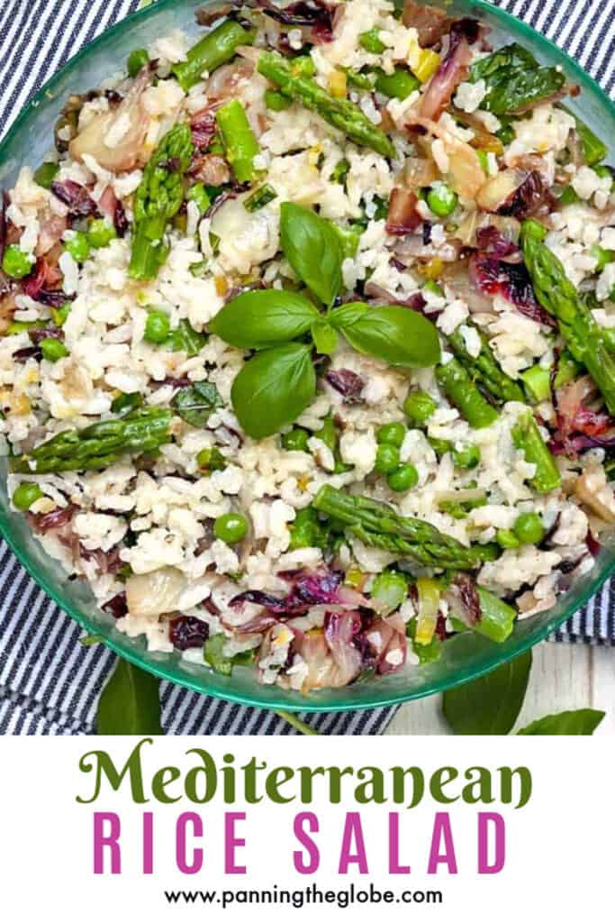 pinterest Pin: mediterranean rice salad with a sprig of basil