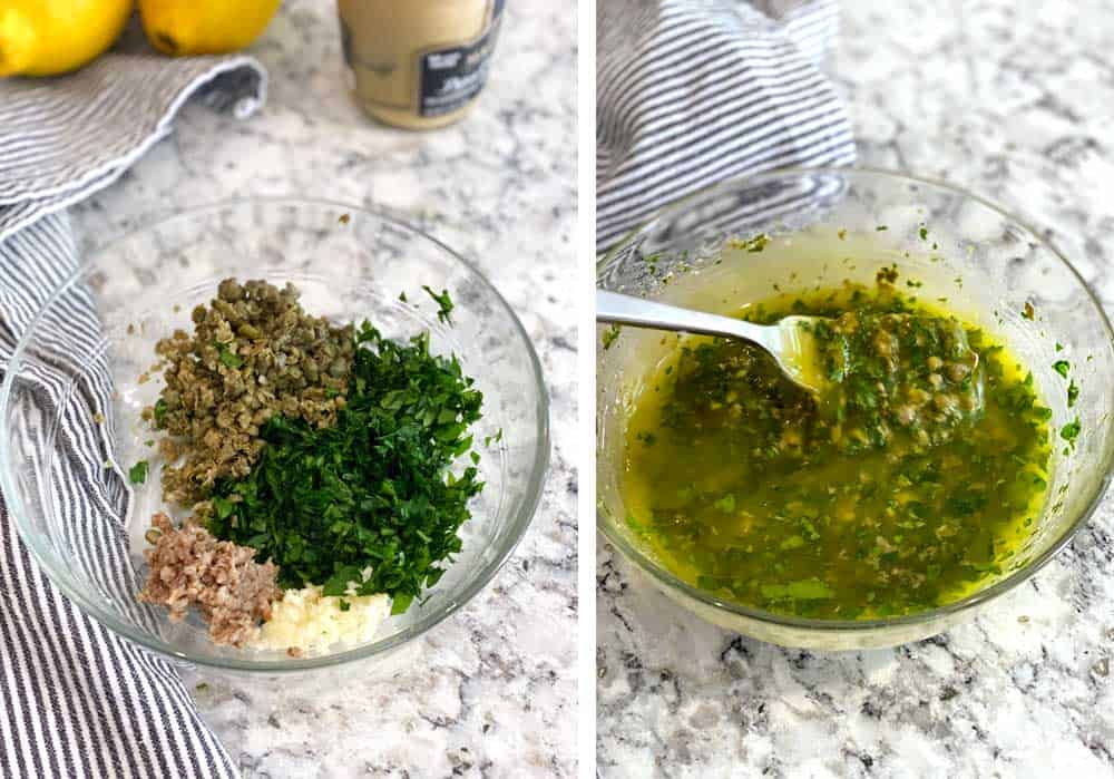 two photos showing how to make salsa verde: first one shows the raw ingredients: capers, parsley, garlic and anchovies. The second one shows the final salsa verde.