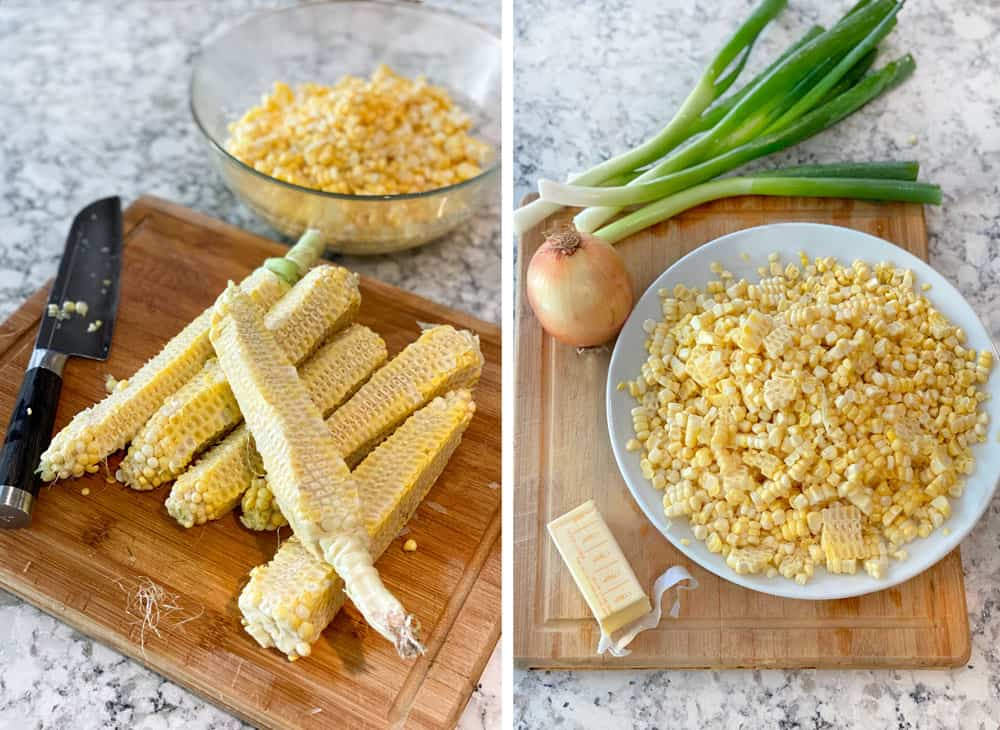 two photos, first one showing a bowl of raw corn kernels and the 6 corn cobs that the corn was cut off of, second photo shows the bowl of corn, a yellow onion, a bunch of scallions and a half bar of butter