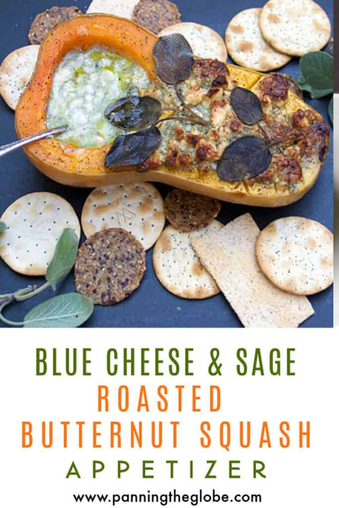 PINTEREST Pin: roasted butternut squash half stuffed with blue cheese
