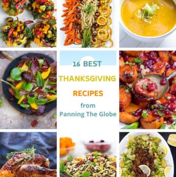 Grid with 8 images of different Thanksgiving recipes from turkey to butternut squash soup
