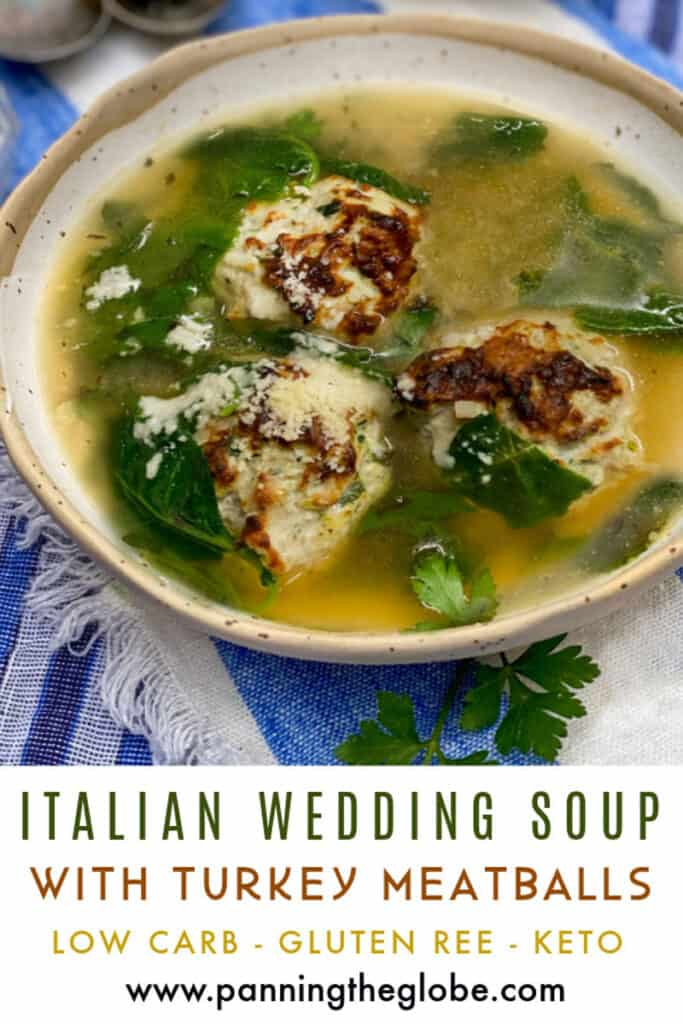 PInterest pin: a bowl of Italian wedding soup with broth, 3 meatballs and greens