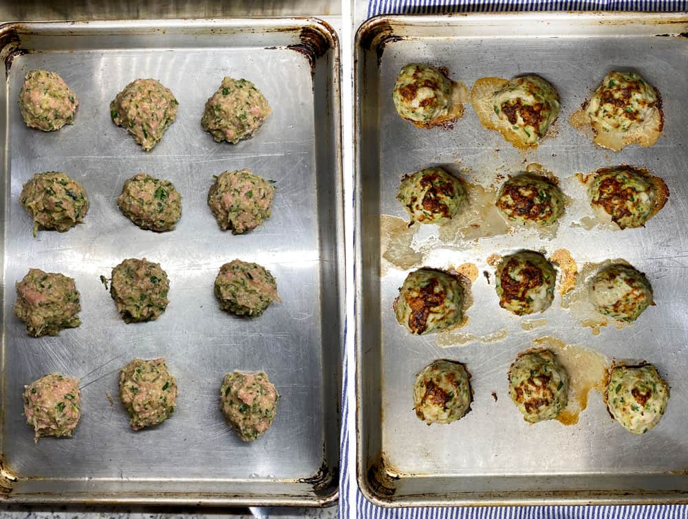 12 turkey meatballs on a silver rimmed baking sheet shown before baking and after they come out of the oven