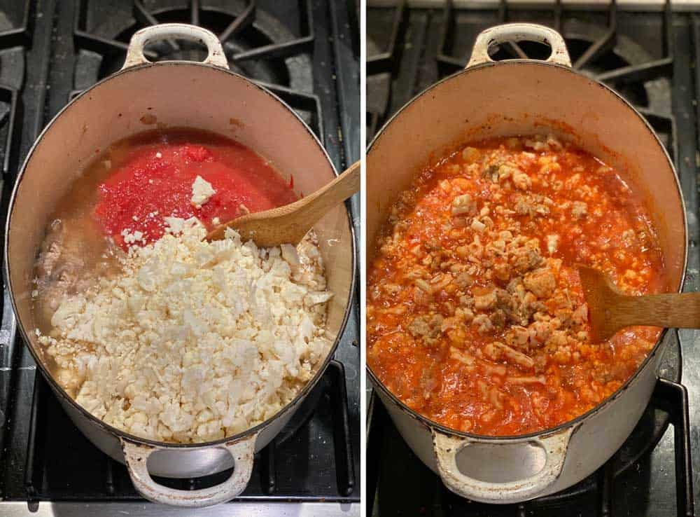 an oval dutch oven with chopped cauliflower and tomato puree being added to the pot, then next photo show the soup after it's cooked for ten minutes