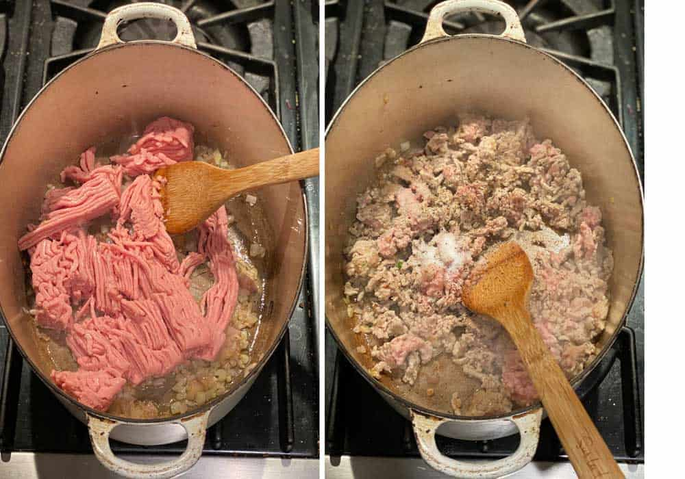 Overhead shot of an oval white dutch oven filled with sautéed chopped shallots and a pound of ground turkey, next shot shows the same pot after the turkey has been browned