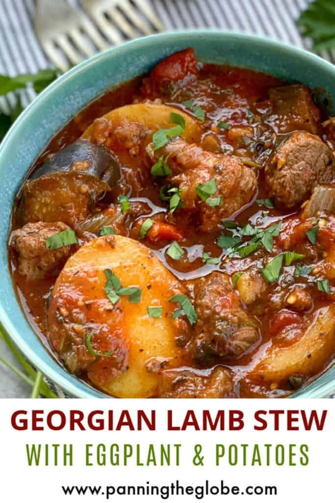 Pinterest pin: Georgian lamb stew with potatoes in a light blue bowl