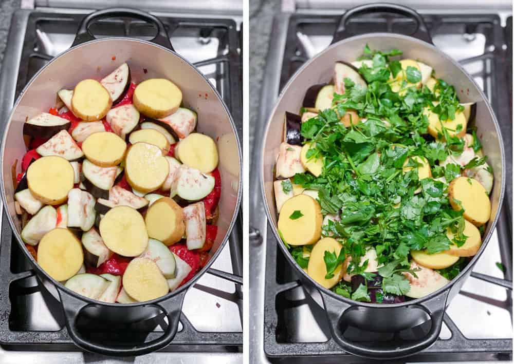 oval Dutch oven showing the eggplant and potatoes layer for Georgian lamb stew. The second photo shows the herb layer on top of the previous layer