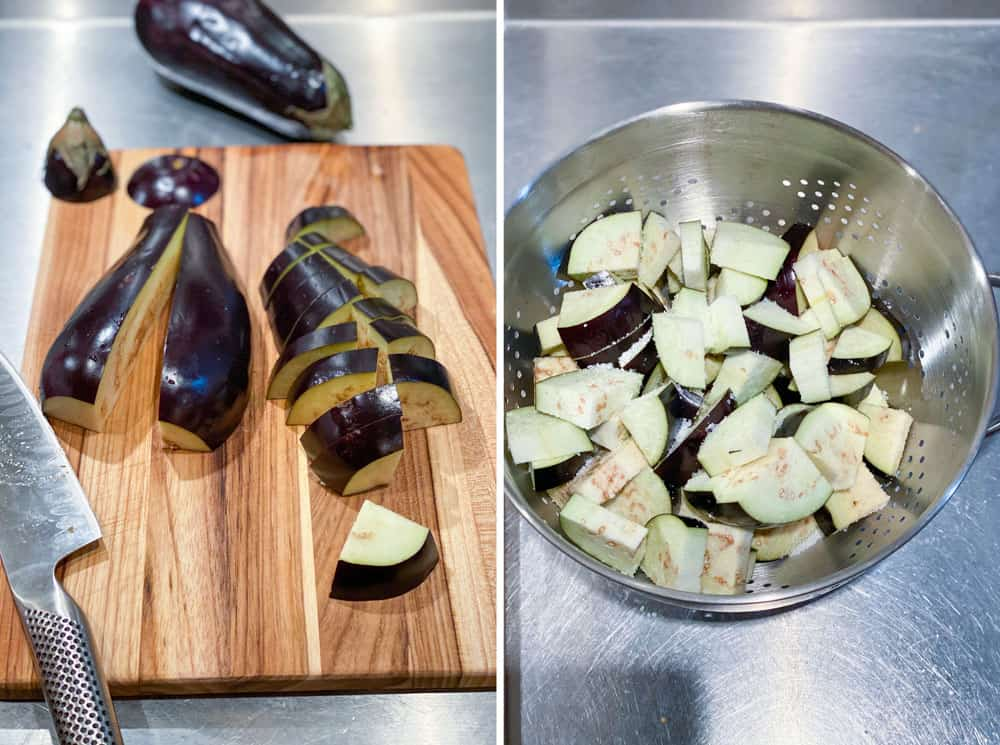 showing how to cut an eggplant for Georgian lamb stew. one photo show an eggplant sliced into wedges, the next photo show the salted wedges in a metal colander.
