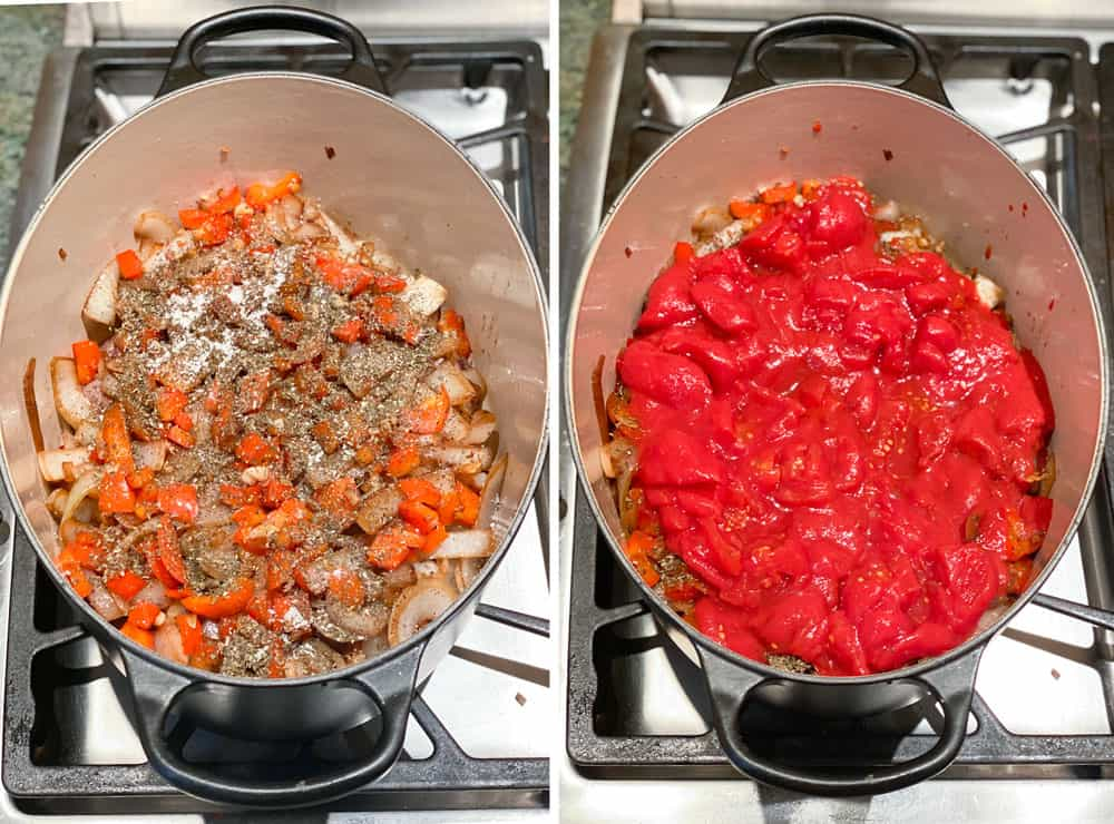 Dutch oven showing the spices layer of Georgian lamb stew. Then another shot showing the canned plum tomato layer on top of the spices layer