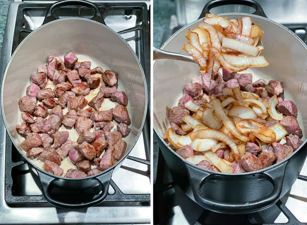 Dutch oven with browned cubes of lamb in the bottom, and then the same Dutch oven with sautéed onions added on top of the lamb