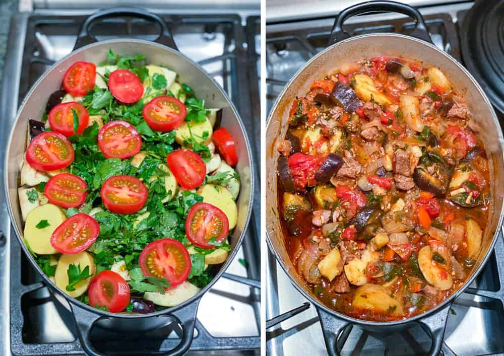 an oval dutch oven filled with Georgian lamb stew (chanakhi) before and after it cooks, showing raw potatoes, eggplant herbs and tomatoes in the first shot and a fully cooked stew in the second photo.